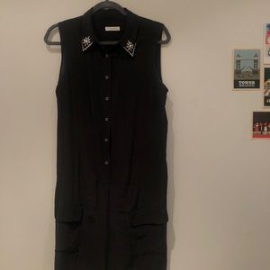 EQUIPMENT BLACK WASHED SILK SHIRT DRESS